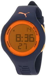 PUMA Men's PU910801016 Loop Dark Blue and Orange Digital Watch