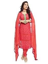 Isha Enterprise Women's Pure Chiffon Dress Material(KFD452-1868_Red)