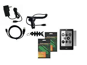 iShoppingdeals - for Kobo eReader Touch Edition (N905), Car Charger, Travel AC Wall Charger, USB Data Cable, Screen Protector, and Fishbone Keychain at Electronic-Readers.com