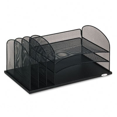 Buy Mesh desk organizer, three horizontal/three upright sections, black