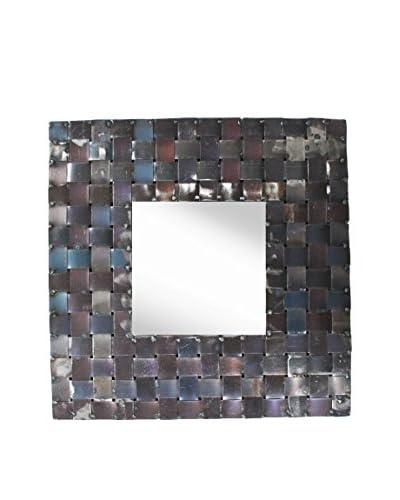 PTM Images Metal Basket Weave Framed Mirror, Natural Metal