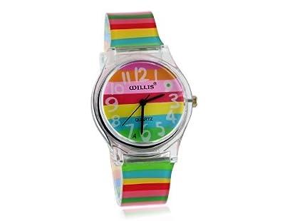 Stylish Rainbow Pattern Women's Analog Watch with Plastic Strap