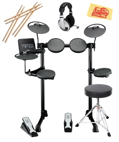 Yamaha Dtx400K Electronic Drum Set Bundle With Drum Throne, Drum Stick Pack, Headphones, And Polishing Cloth