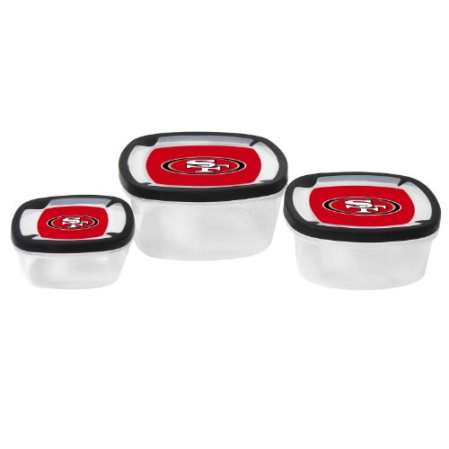 Nfl San Francisco 49Ers Nesting Square Containers, 7.2-Cup; 3.5-Cup; 2.1-Cup, Clear, Piece Of 3 front-535759