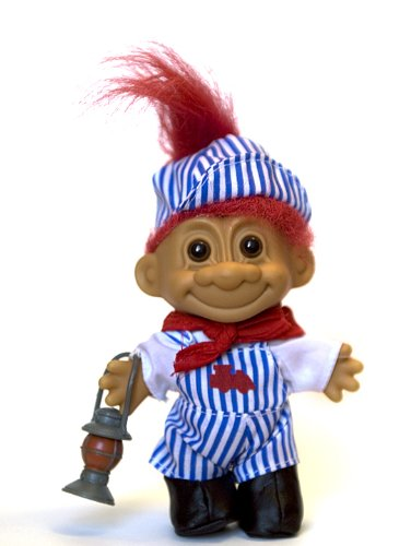 My Lucky Troll Train Conductor Troll Doll (Red Hair) from