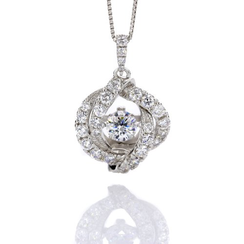 Dancing Diamond 1 Carat 6.5 Mm Cz Pendant On A Solid Sterling Silver Chain