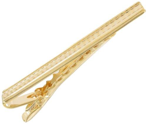 Tie Clip Men's Big Vintage Ribbed Gold Tone Bar Clip Clasp 2 3/8
