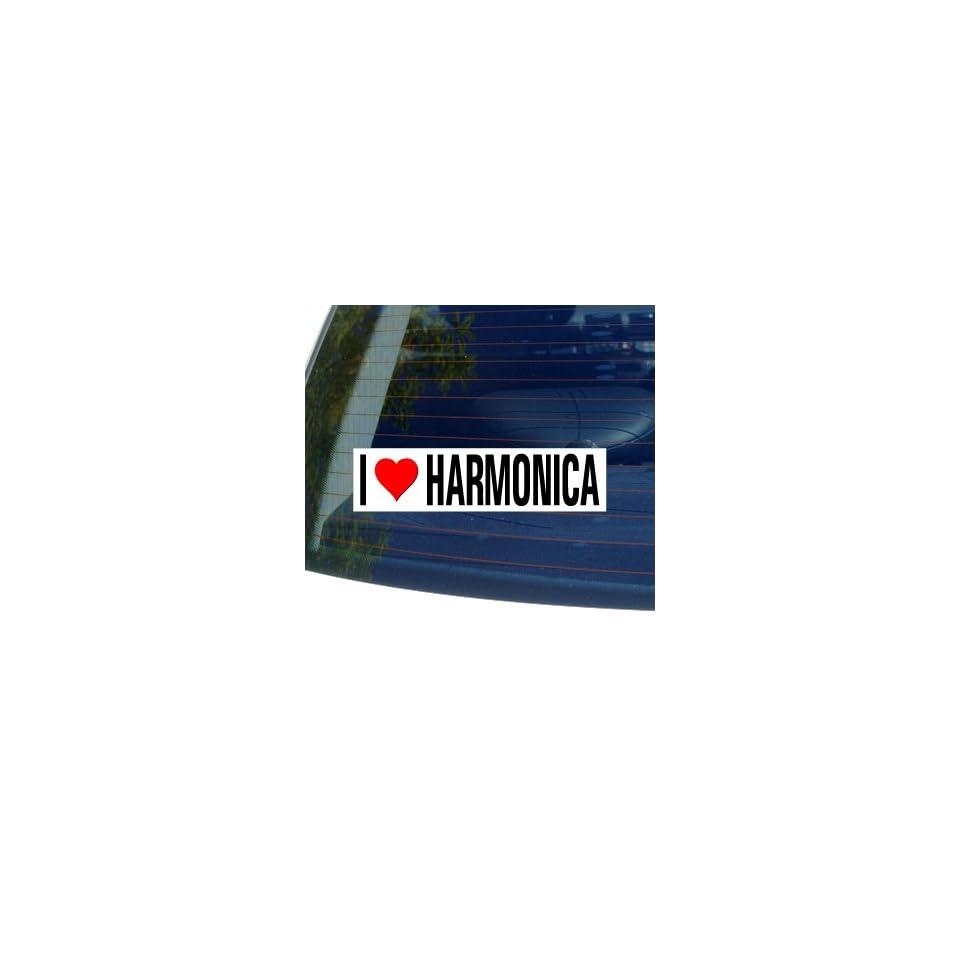 I Love Heart HARMONICA   Window Bumper Sticker