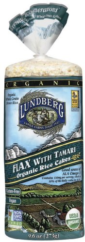 Lundberg Organic Flax with Tamari Rice Cakes, 9.6-Ounce Packages (Pack of 12)