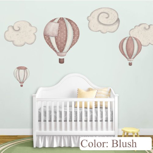 Hot Air Balloon Decals & Cloud Wall Stickers For Baby Room Nursery (Blush) front-720760