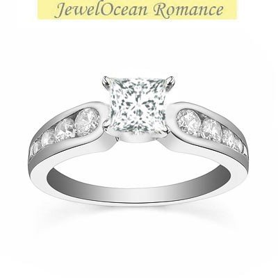 0.58 Carat Cheap Engagement Ring for Women with Princess cut Diamond on 18K White gold