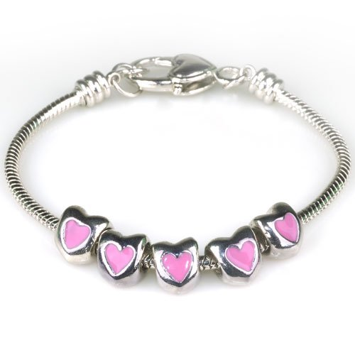 Pugster Pink Heart Beads Fits Pandora Charms (not Include Bracelet)