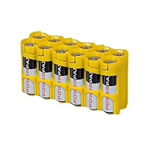 Storacell Powerpax AA Battery Caddy, Yellow, 12-Pack