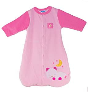 """Bon Bebe, Baby Girls Luxe Sleepsack """"Sweet Dreams"""", 100% Cotton Wearable Blanket, Size: 0 months to 6 months, Color: Pink"""