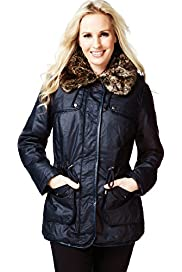 Petite Pure Cotton Faux Fur Hooded Waxy Coat