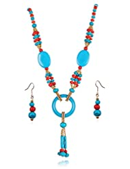 Designer Rajasathani Tribal Collection Multicolor Traditional Ethnic Long Necklace Set With Earrings For Women...