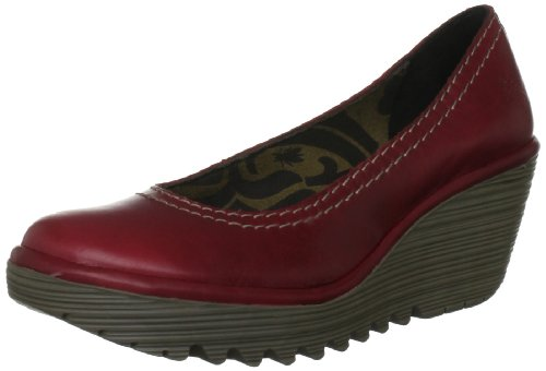 Fly London Women's Yoni Wedge Sandal Leather Patent Red P500171003 5 UK