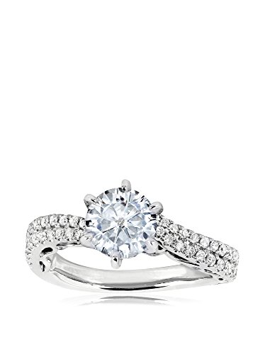Kobelli 14K White Gold Round Moissanite & Diamond Ring