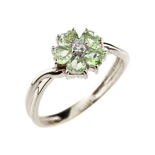 [アトラス] Atrus 指輪 花のリング フラワーリング ペリドット ピンキーリング シルバー925 SV925 指輪 17号 フラワーモチーフの可愛いリング 8月誕生石
