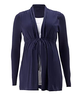 Maternity 2 in 1 Navy and White Cardigan plus Blouse