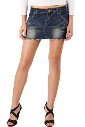 Jessie G. Women's Low Rise Distressed Crinkle Denim Mini Skirt -8