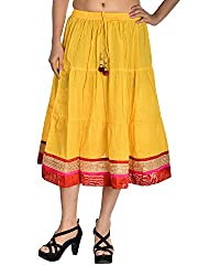 Aura Life Style Women's Cotton Loose Fit Ethnic Skirt (ALSK4019D, Yellow, Free Size)