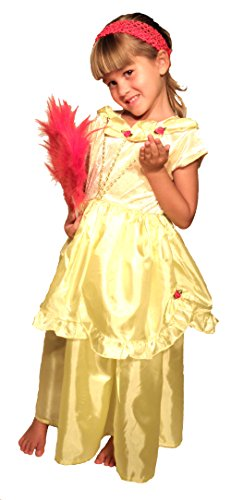 Belle Beauty & the Beast 2 Pc Girls Princess Costume with Red Feather Fan Large