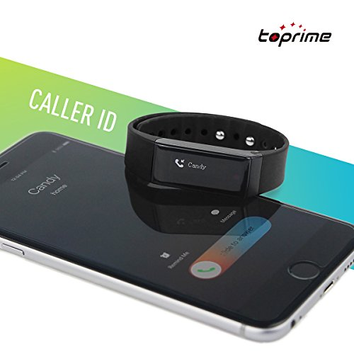 Fitness Tracker Toprime® Latest Replaceable Wristbands Activity Tracker Sleeping monitor Smart Band Multi-Functions work for Android and iOS Black