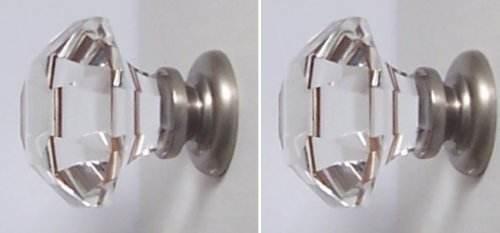 """Two Oversized Asscher-Cut Old Town Lead Crystal BiFold /Wardrobe Knobs, almost 2"""" in diameter. BRUSHED NICKEL Stem topped over NICKEL which is visible in the base. Another 3rd Generation RoussoDesigns for when you need the ultimate knob pull ."""