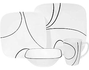 Corelle Square Simple Lines Square 16-Piece Dinnerware Set, Service for 4, Black/White
