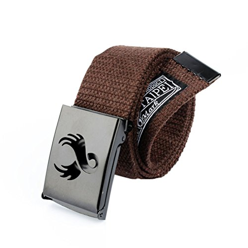 Nanxson(TM) unisex Outdoor tactics Canvas flat buckle Belt Leather Inlay multi colors PDM0010 (coffee)