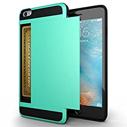 iPhone 6 Case, Zeox(TM) Shock Resistant [Pocket Wallet] Cover iPhone 6 Card Slot Case Protective Shell - Flexible Shockproof Rubber Bumper Frame Case with Anti-scratch Hard PC Back Cover Skin- Credit Card Wallet Case for Apple iPhone 6 4.7 Inch - Teal