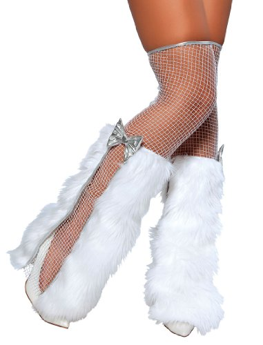 White Fur Leg Warmers with Fishnet Stockings - Adult Std.