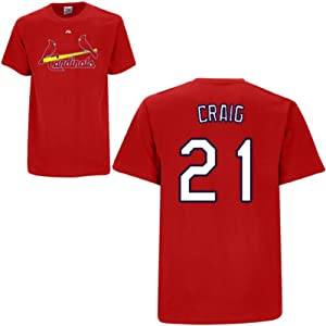 Allen Craig St Louis Cardinals Red Player T-Shirt by Majestic by Majestic