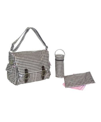 SALE- Chocolate Checkerboard Double Buckle Diaper Bag Set