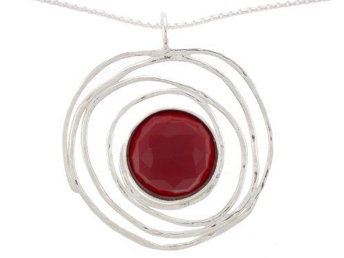 Silver Jewelry, Necklace with One 14mm Round Faceted Carnelian Pendant on a 16
