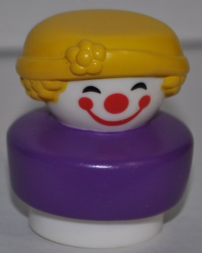 Little People Clown Blond Hair & Purple Base (1991) (Fat Body Style) - Replacement Figure - Classic Fisher Price Collectible Figures - Loose Out Of Package & Print (OOP) - Zoo Circus Ark Pet Castle - 1