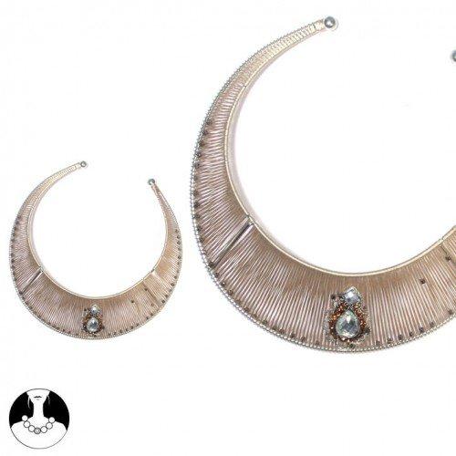 SG Paris Women Necklace Choker Silver Light Brown Fabrics
