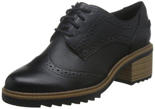 Clarks Balmer Bella, Scarpe Oxford Donna, Nero (Black Leather), 40 EU
