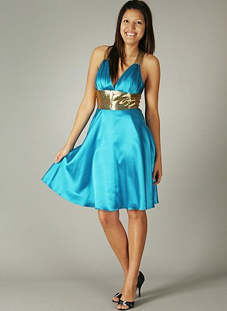 Satin Pleated Beaded Dress for Bridesmaid Formal Prom SM TEAL