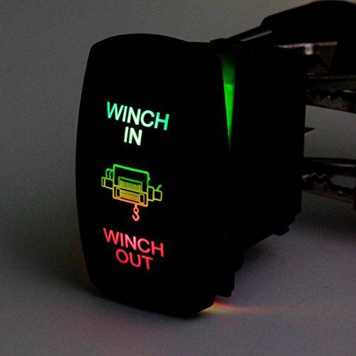AUDEW Switch 7 Pin 12V 20A barco UTV Winch Doble luz LED en fuera on-off-on laser Rocker rojo-verde