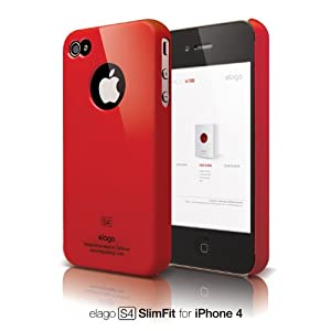 elago S4 Slim Fit Case for iPhone 4 - Extreme Hot Red + Logo Protection Film included