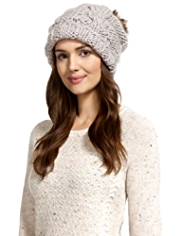 M&S Collection Faux Fur Pom-Pom Beanie Hat with Wool