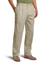 IZOD Men's American Chino Pleated Pant, Khaki, 30x32