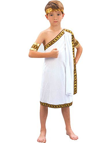 [Boys Roman Toga Fancy Dress Costume for Childrens Kids Caesar National Greek Dress Up Outfit Large 9-10 Years by] (Kids Greek Outfit)
