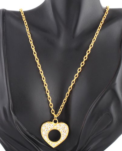 Ladies Gold with Clear Iced Out Center Cut Out Style Heart Pendant with a 26 Inch Link Chain Necklace