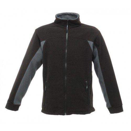 Regatta RG121 Men's Energise Anti-Pill Symmetry Fleece Jacket, XX-Large, Black/Seal Grey