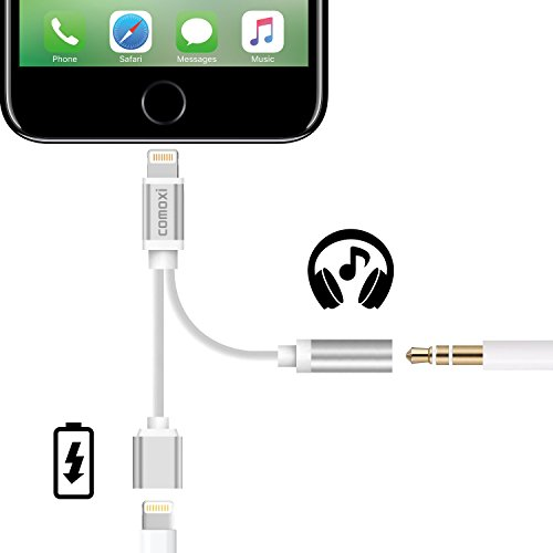 2 in 1 Lightning Adapter for iPhone 7 / 7 Plus, Comoxi Lightning Charger and 3.5mm Earphone Stereo Jack Cable Adapter [No Music Control] for iPhone 7/7 Plus/6s/6/5s/5 - Silver (No 1 Phone compare prices)