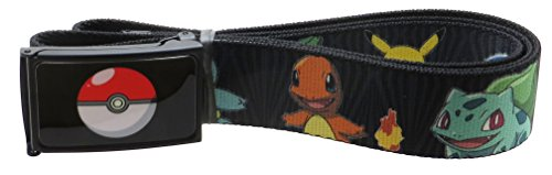 Pokemon Poké Ball Web Belt 1.5 Wide Kanto Starter Pokémon & Pikachu Zebra Black/Gray (Pokemon Belt Buckle compare prices)