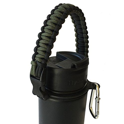 Hydro Flask Water Bottle Carrier - America's #1 Paracord Handle - Never Again Drop or Lose Your Bottles (Army Green/Black)
